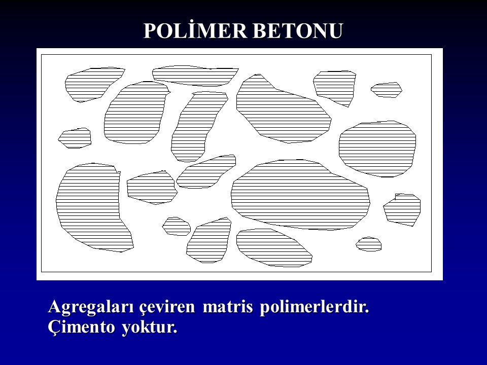 POLİMER BETONU Agregaları çeviren matris polimerlerdir. Çimento yoktur.