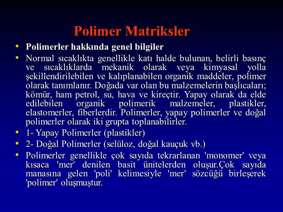 Polimer Matriksler Polimerler hakkında genel bilgiler