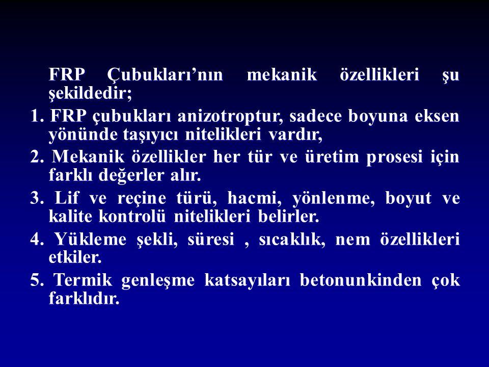 FRP Çubukları'nın mekanik özellikleri şu şekildedir;