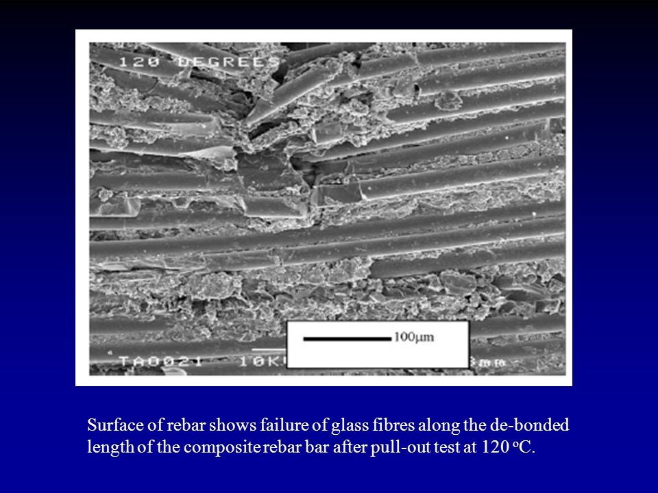 Surface of rebar shows failure of glass fibres along the de-bonded