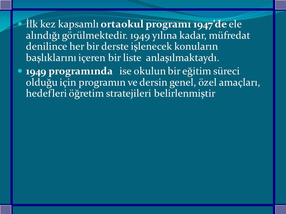 İlk kez kapsamlı ortaokul programı 1947'de ele alındığı görülmektedir