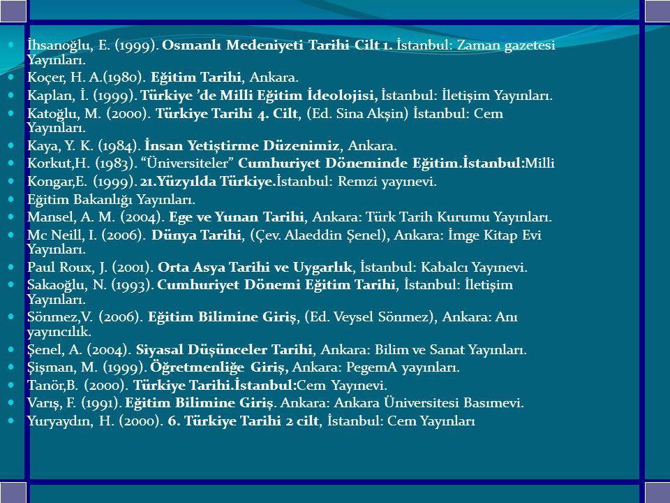 İhsanoğlu, E. (1999). Osmanlı Medeniyeti Tarihi Cilt 1