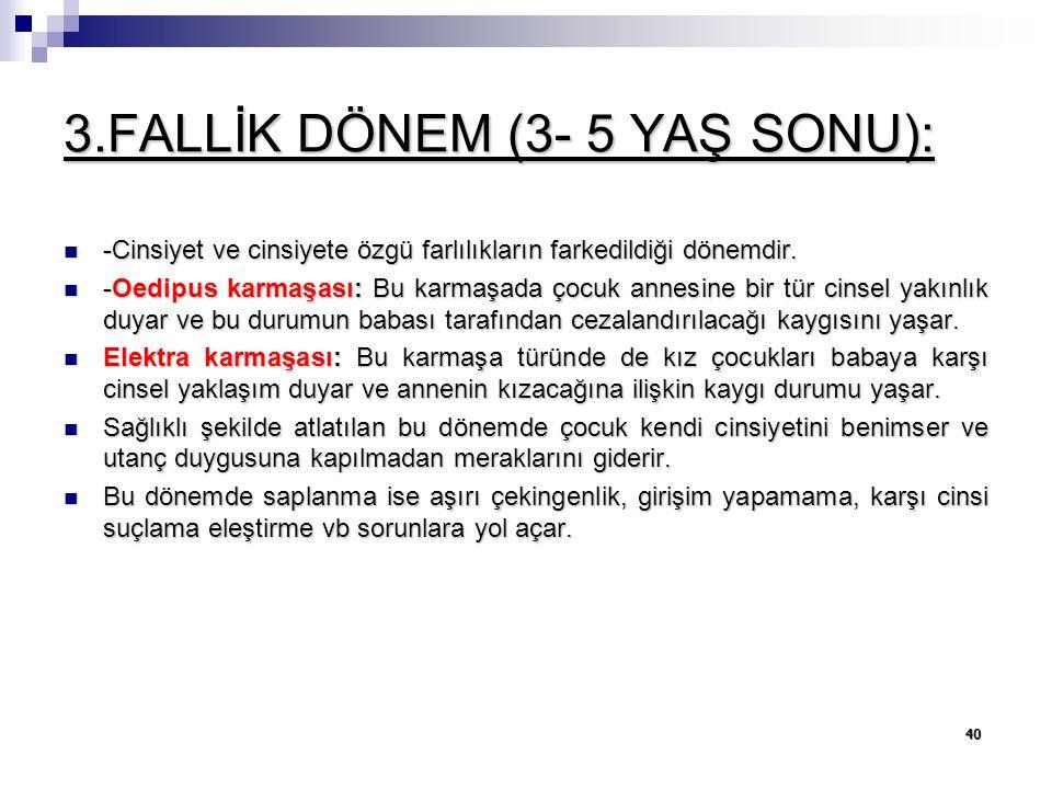 3.FALLİK DÖNEM (3- 5 YAŞ SONU):