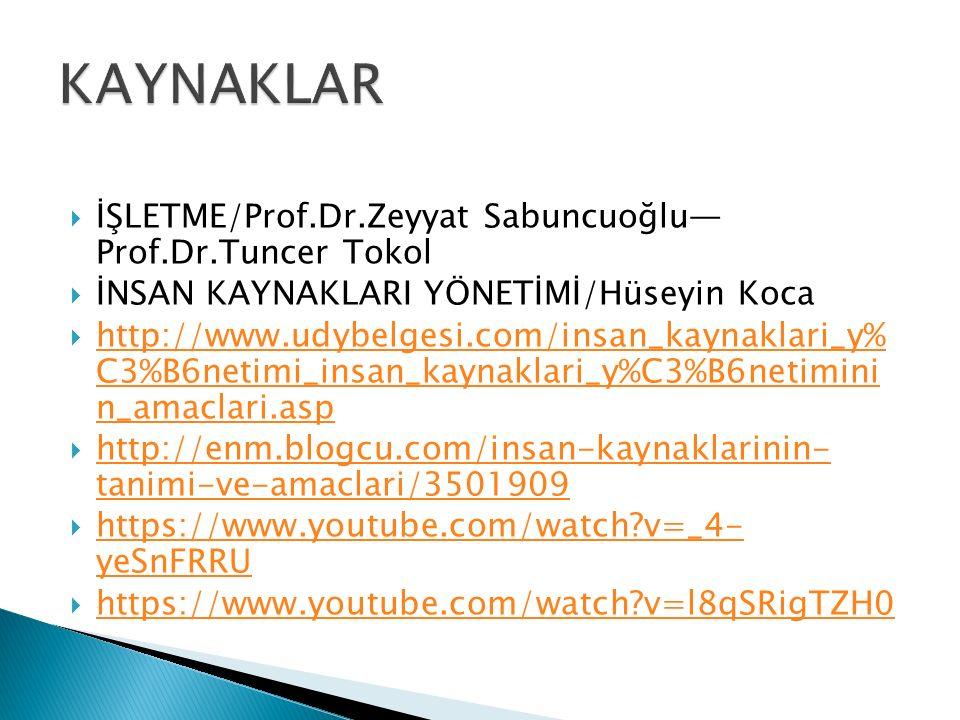 KAYNAKLAR İŞLETME/Prof.Dr.Zeyyat Sabuncuoğlu— Prof.Dr.Tuncer Tokol