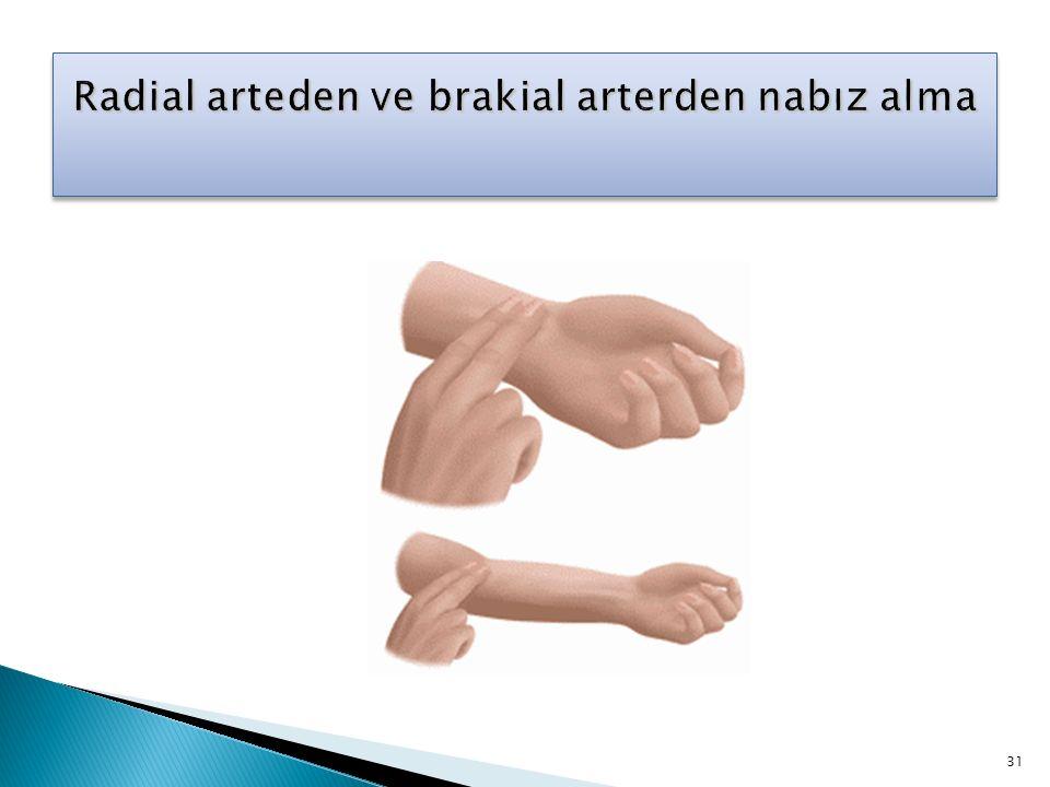 Radial arteden ve brakial arterden nabız alma