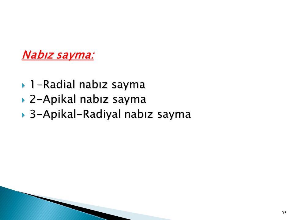 Nabız sayma: 1-Radial nabız sayma 2-Apikal nabız sayma 3-Apikal-Radiyal nabız sayma