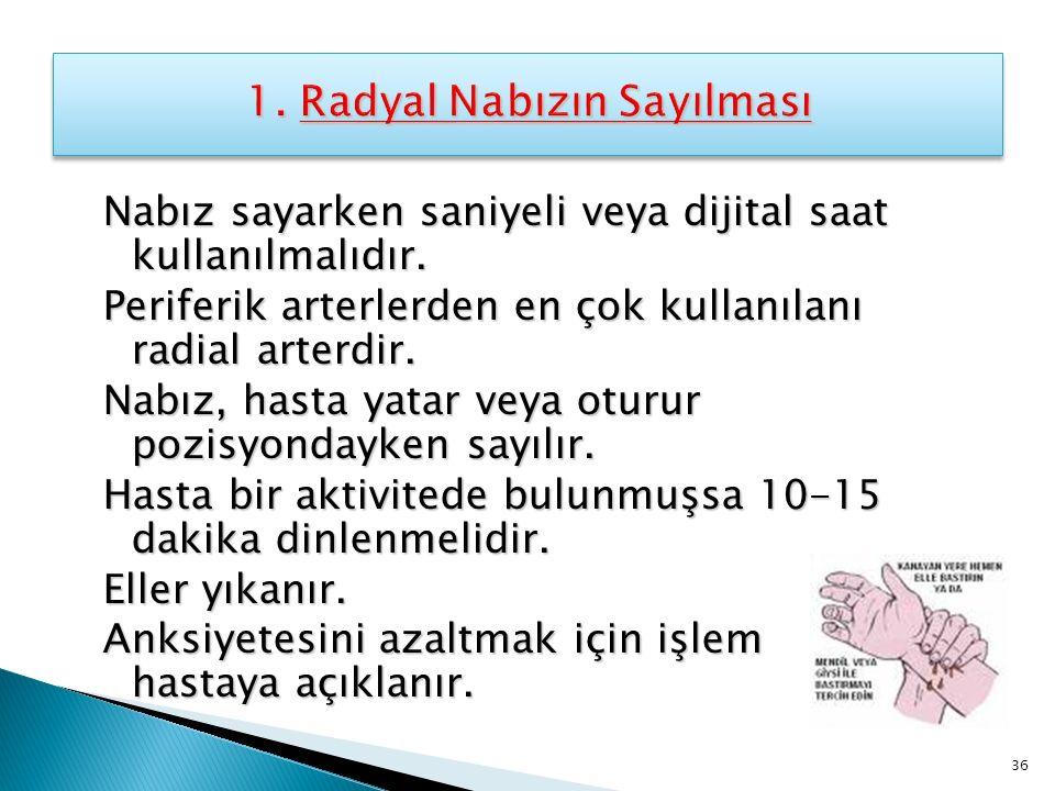 1. Radyal Nabızın Sayılması