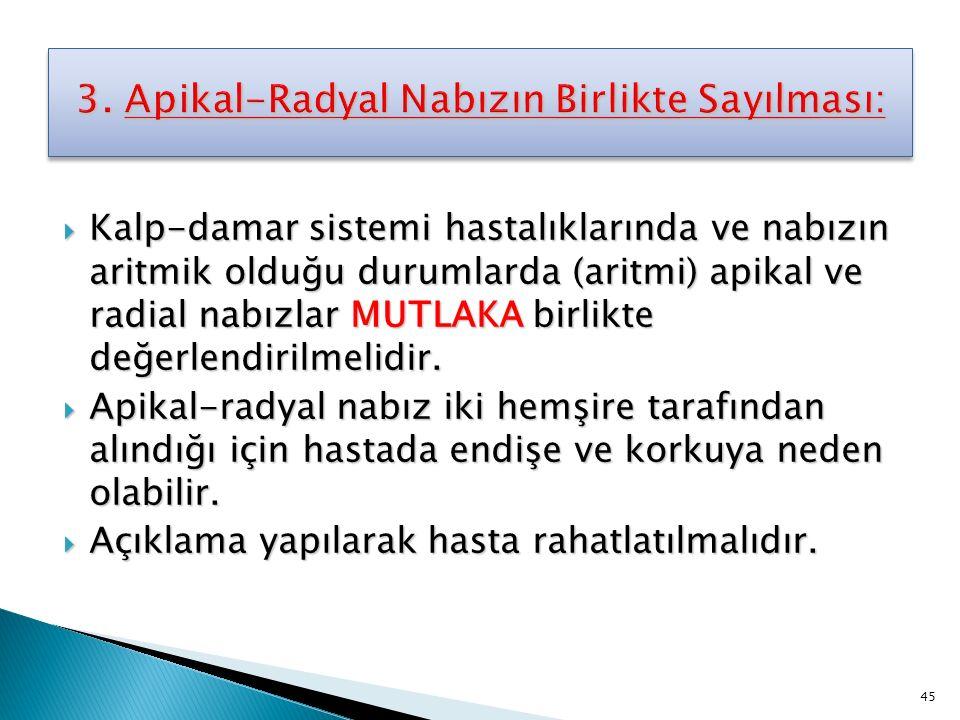 3. Apikal-Radyal Nabızın Birlikte Sayılması:
