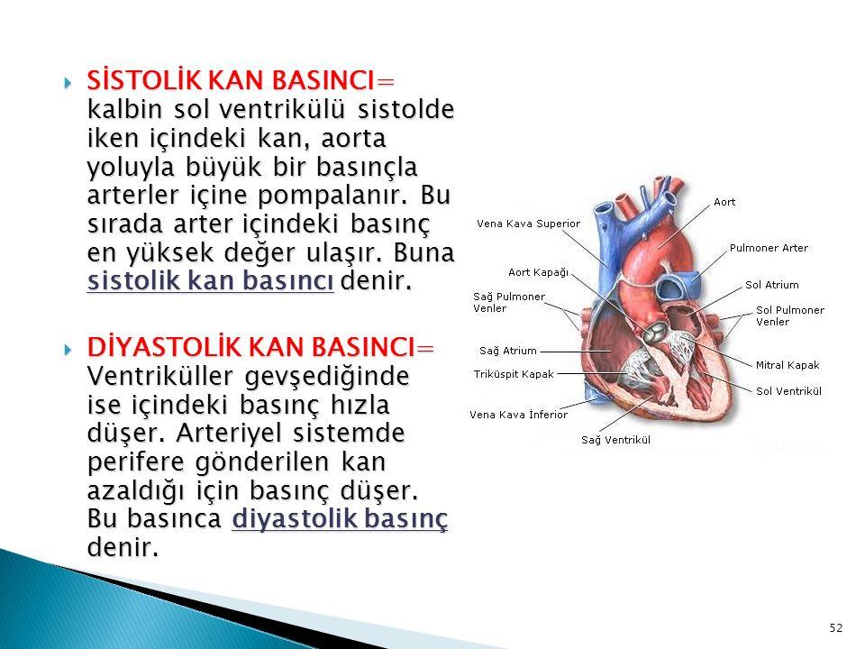 SİSTOLİK KAN BASINCI= kalbin sol ventrikülü sistolde iken içindeki kan, aorta yoluyla büyük bir basınçla arterler içine pompalanır. Bu sırada arter içindeki basınç en yüksek değer ulaşır. Buna sistolik kan basıncı denir.