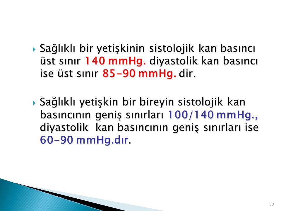 Sağlıklı bir yetişkinin sistolojik kan basıncı üst sınır 140 mmHg