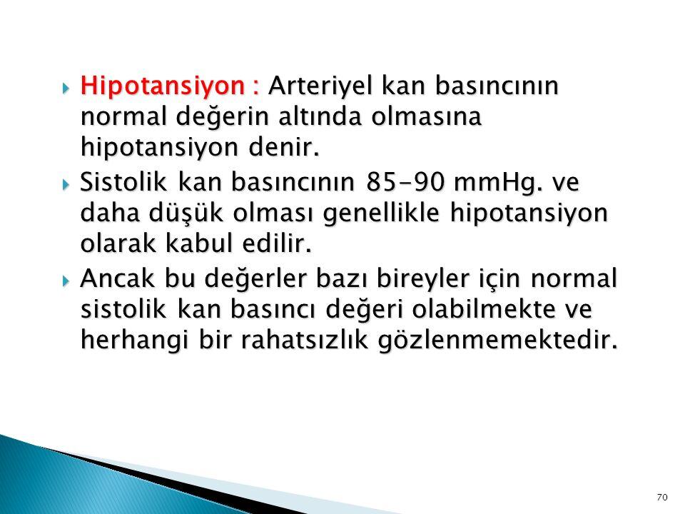 Hipotansiyon : Arteriyel kan basıncının normal değerin altında olmasına hipotansiyon denir.