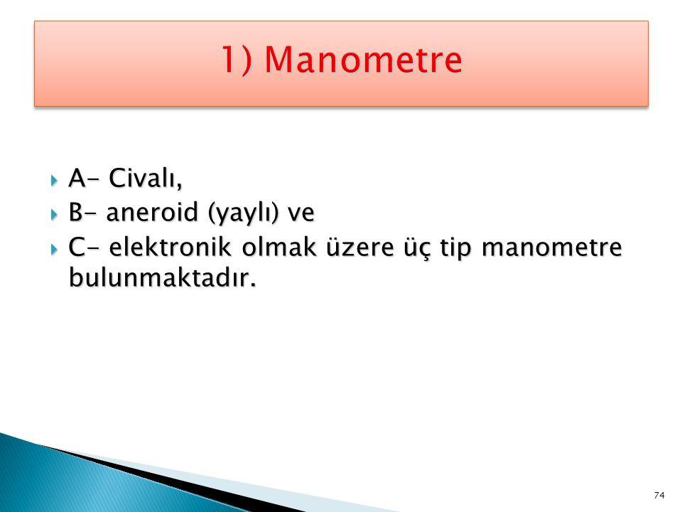 1) Manometre A- Civalı, B- aneroid (yaylı) ve