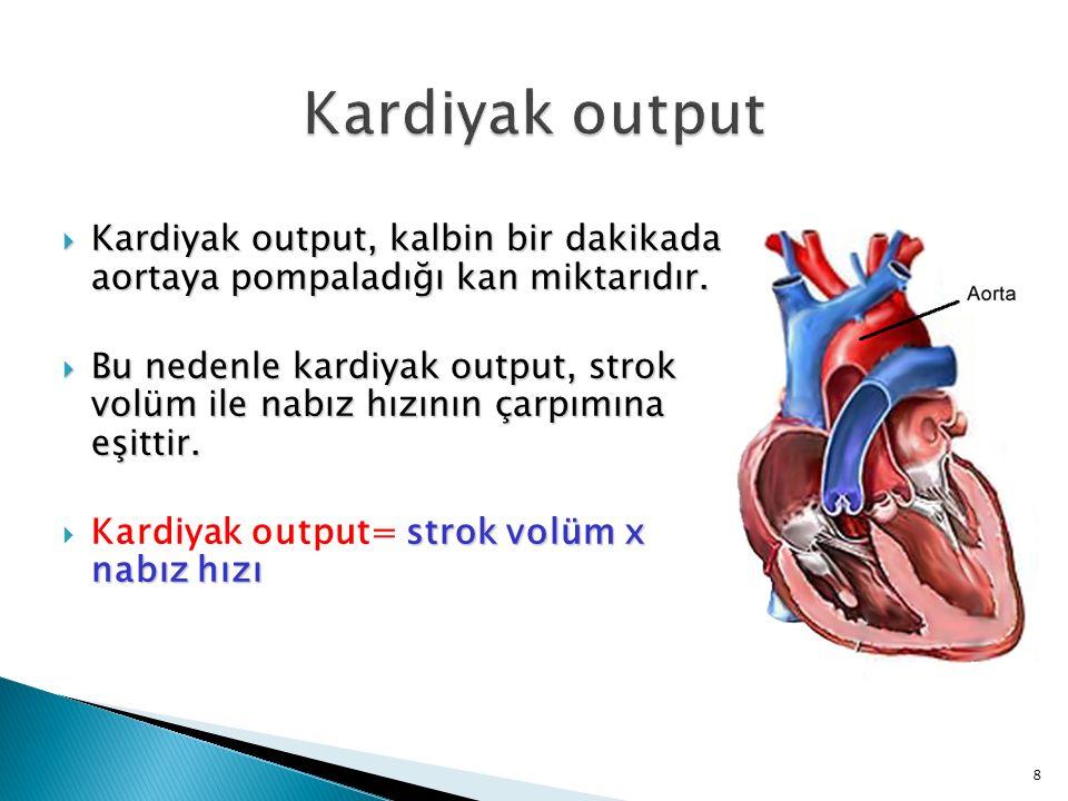 Kardiyak output Kardiyak output, kalbin bir dakikada aortaya pompaladığı kan miktarıdır.