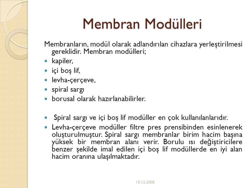 Membran Modülleri Membranların, modül olarak adlandırılan cihazlara yerleştirilmesi gereklidir. Membran modülleri;