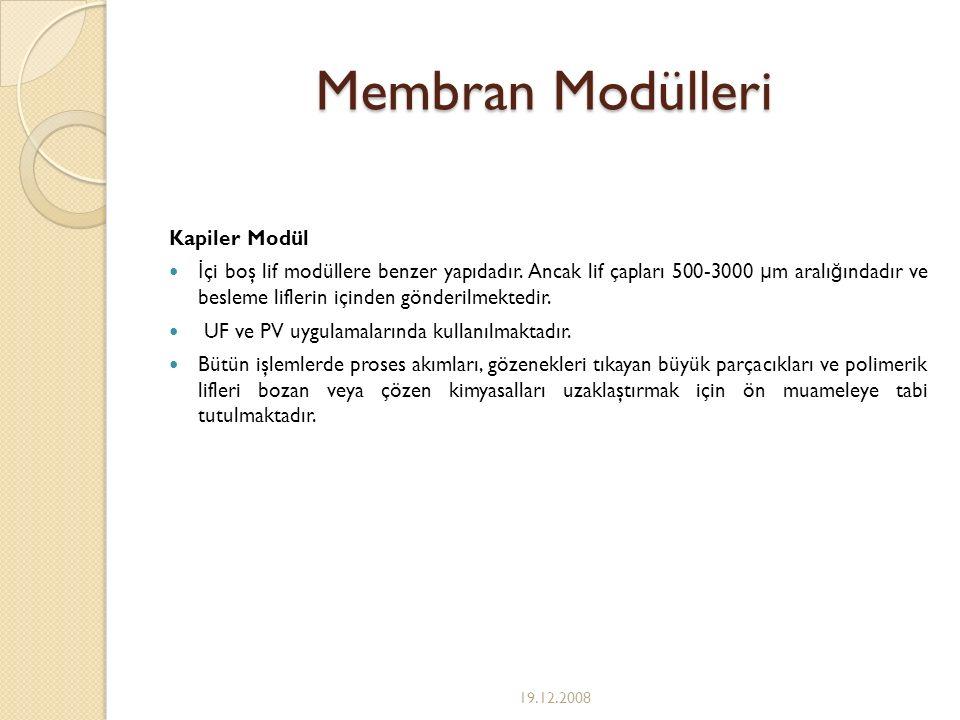 Membran Modülleri Kapiler Modül