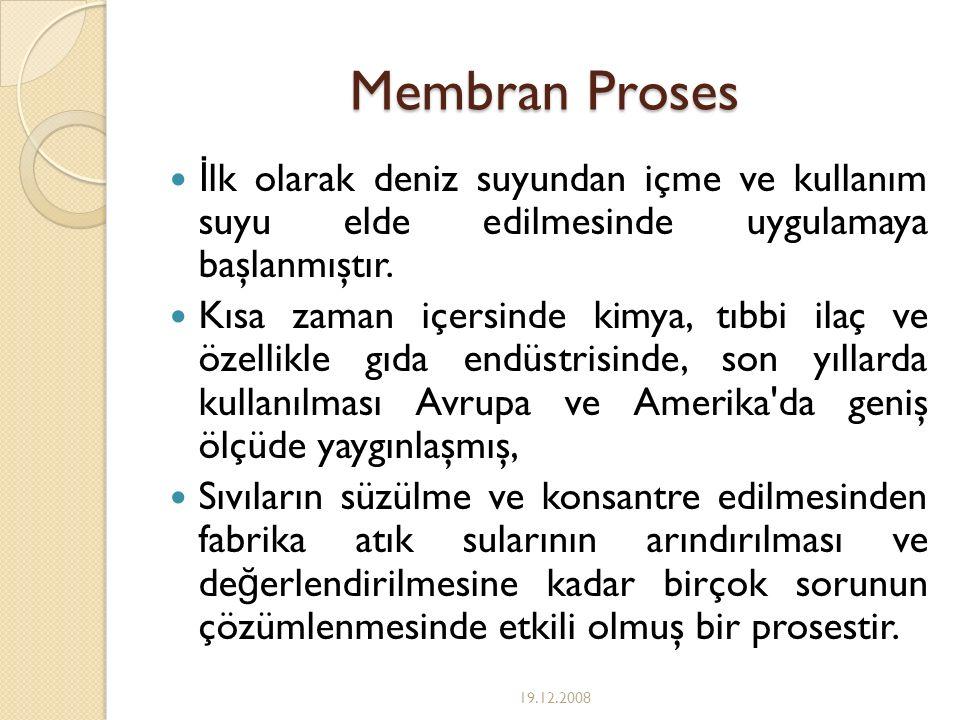 Membran Proses İlk olarak deniz suyundan içme ve kullanım suyu elde edilmesinde uygulamaya başlanmıştır.