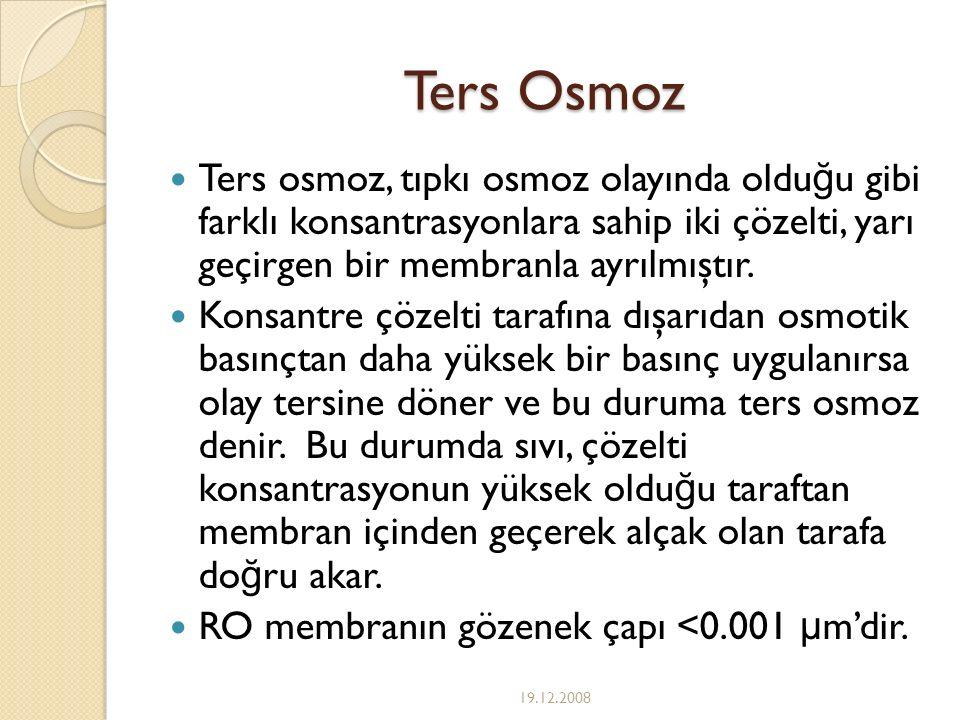 Ters Osmoz Ters osmoz, tıpkı osmoz olayında olduğu gibi farklı konsantrasyonlara sahip iki çözelti, yarı geçirgen bir membranla ayrılmıştır.