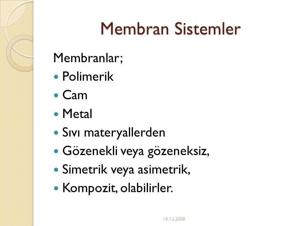 Membran Sistemler Membranlar; Polimerik Cam Metal Sıvı materyallerden