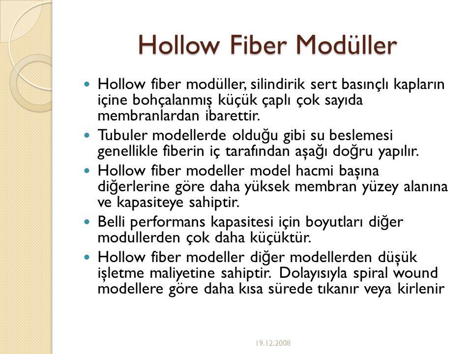 Hollow Fiber Modüller Hollow fiber modüller, silindirik sert basınçlı kapların içine bohçalanmış küçük çaplı çok sayıda membranlardan ibarettir.