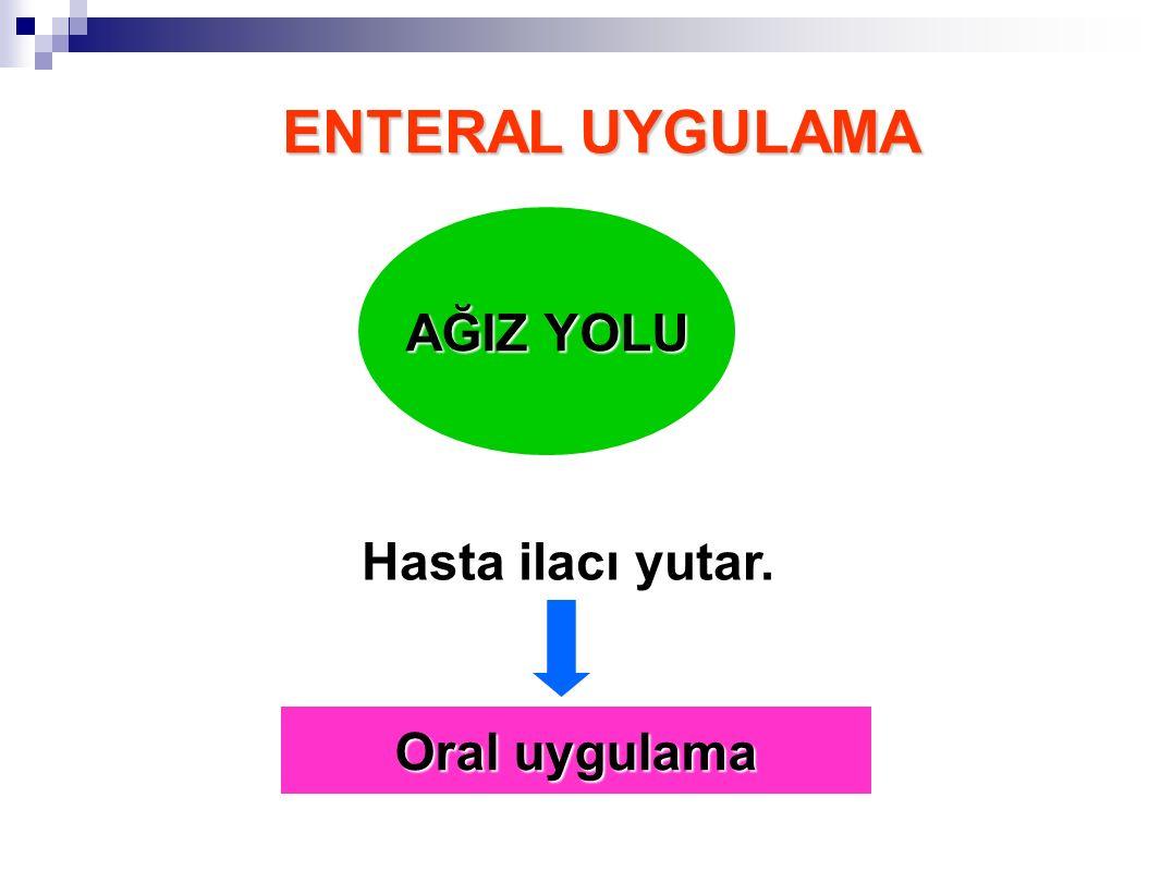 ENTERAL UYGULAMA AĞIZ YOLU Hasta ilacı yutar. Oral uygulama