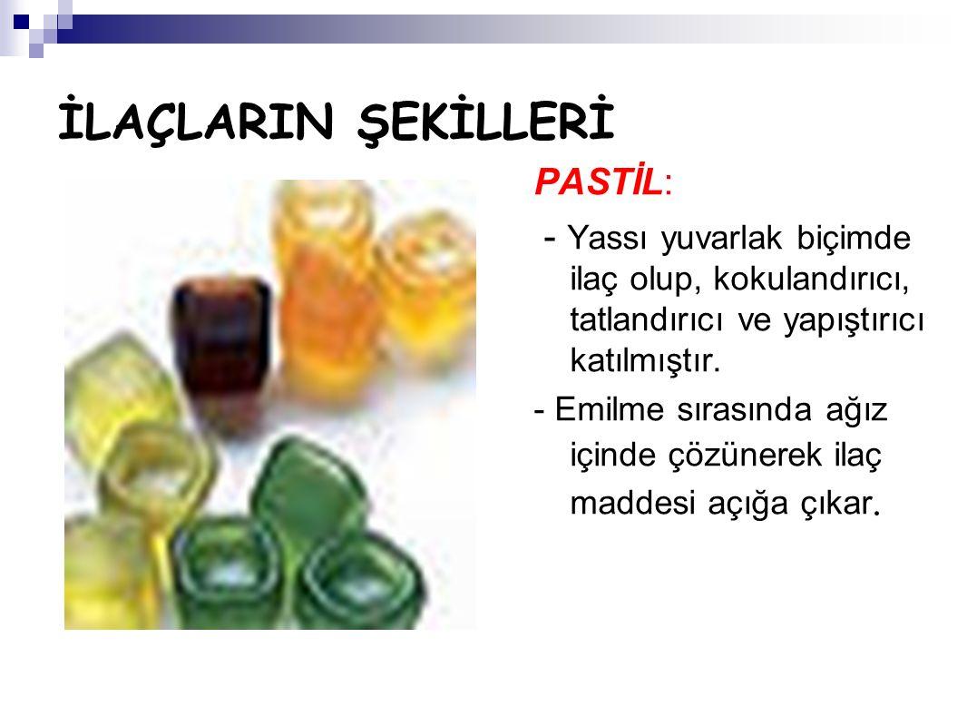 İLAÇLARIN ŞEKİLLERİ PASTİL: