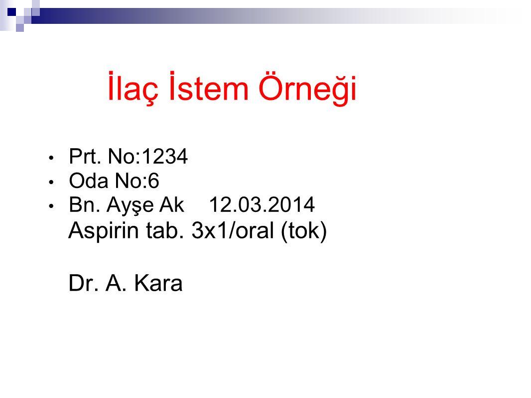 İlaç İstem Örneği Aspirin tab. 3x1/oral (tok) Dr. A. Kara Prt. No:1234