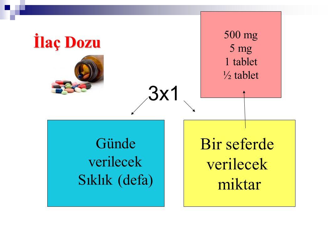 3x1 İlaç Dozu Bir seferde verilecek miktar Günde verilecek