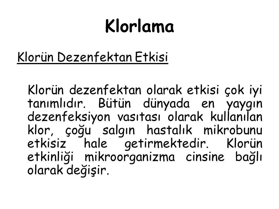 Klorlama Klorün Dezenfektan Etkisi