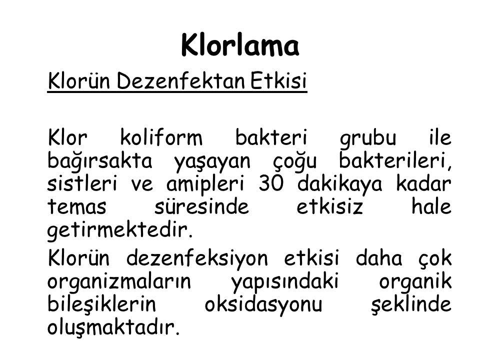 Klorlama Klorün Dezenfektan Etkisi.