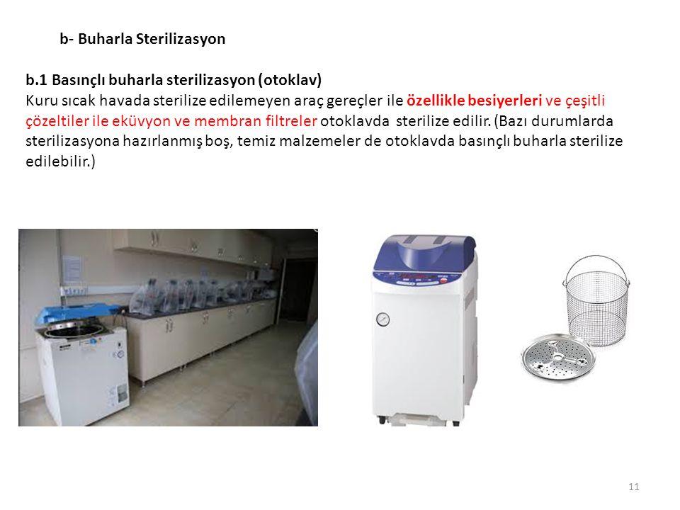 b- Buharla Sterilizasyon