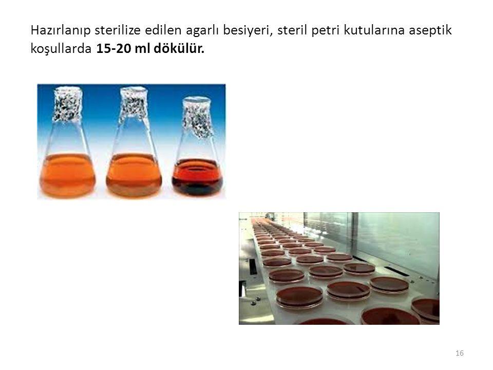 Hazırlanıp sterilize edilen agarlı besiyeri, steril petri kutularına aseptik koşullarda 15-20 ml dökülür.