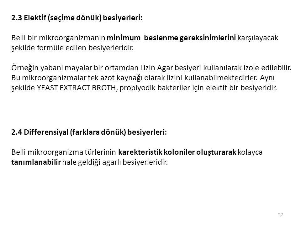 2.3 Elektif (seçime dönük) besiyerleri: