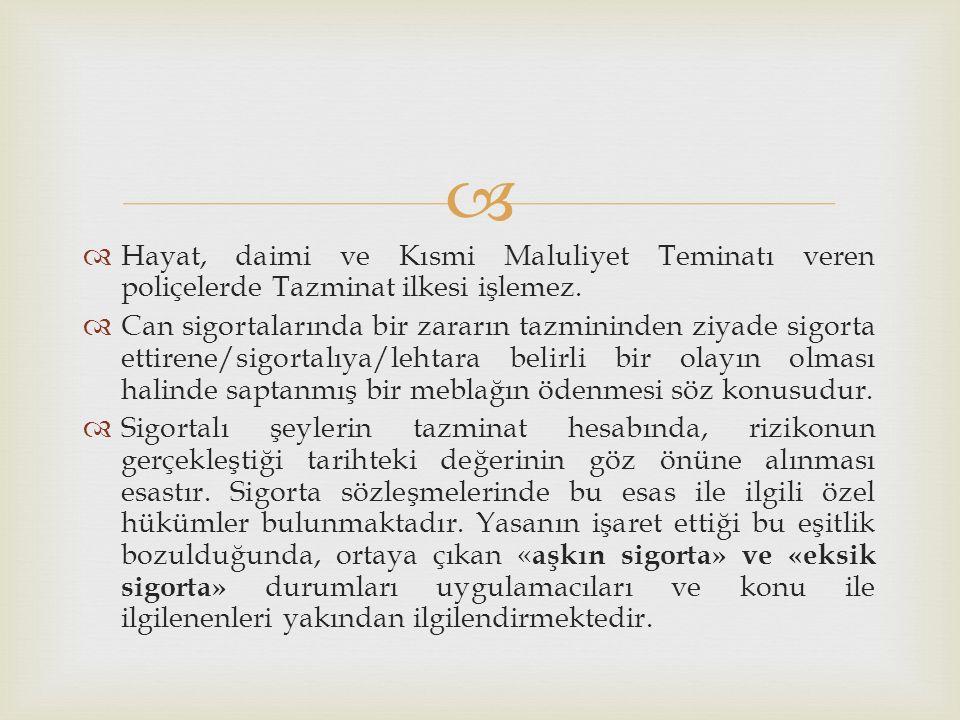 Hayat, daimi ve Kısmi Maluliyet Teminatı veren poliçelerde Tazminat ilkesi işlemez.