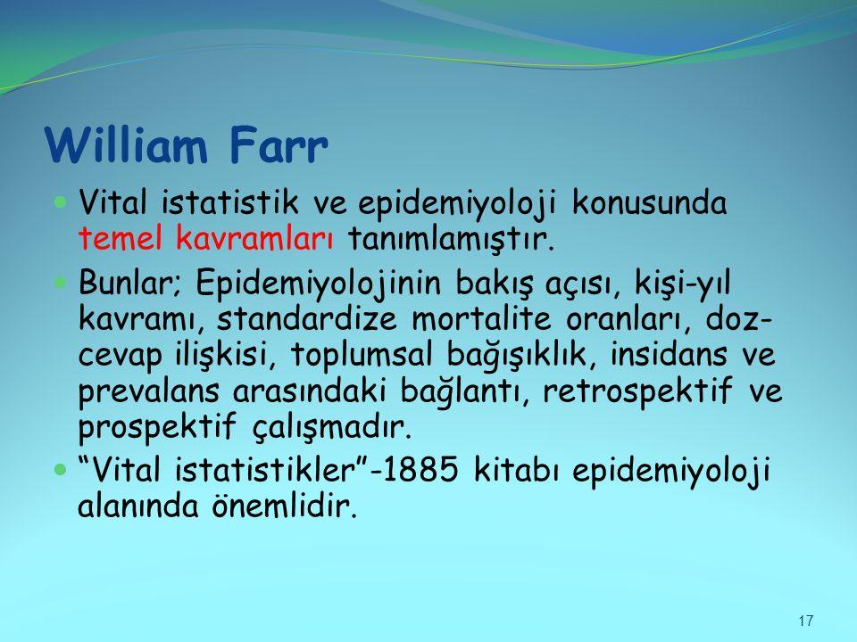 William Farr Vital istatistik ve epidemiyoloji konusunda temel kavramları tanımlamıştır.