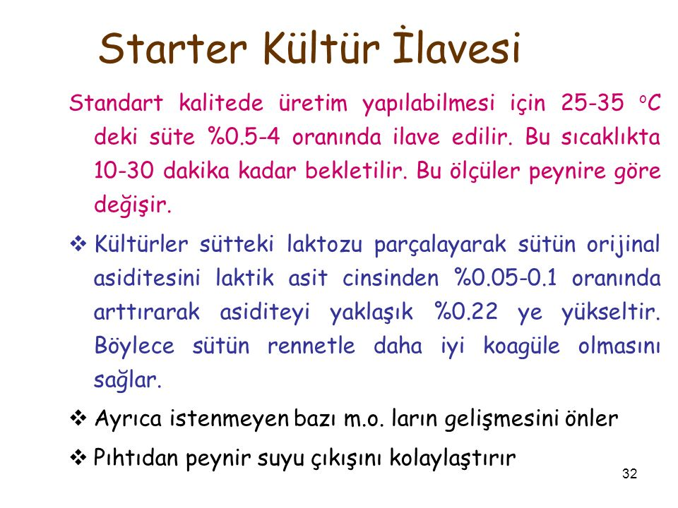 Starter Kültür İlavesi