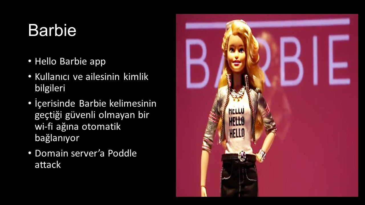 Barbie Hello Barbie app Kullanıcı ve ailesinin kimlik bilgileri