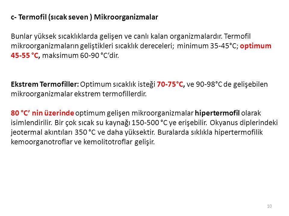 c- Termofil (sıcak seven ) Mikroorganizmalar