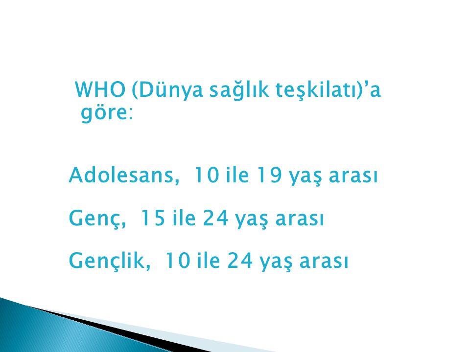 WHO (Dünya sağlık teşkilatı)'a göre: Adolesans, 10 ile 19 yaş arası Genç, 15 ile 24 yaş arası Gençlik, 10 ile 24 yaş arası