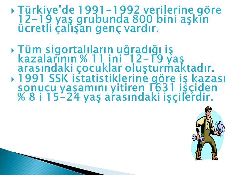 Türkiye'de 1991-1992 verilerine göre 12-19 yaş grubunda 800 bini aşkın ücretli çalışan genç vardır.