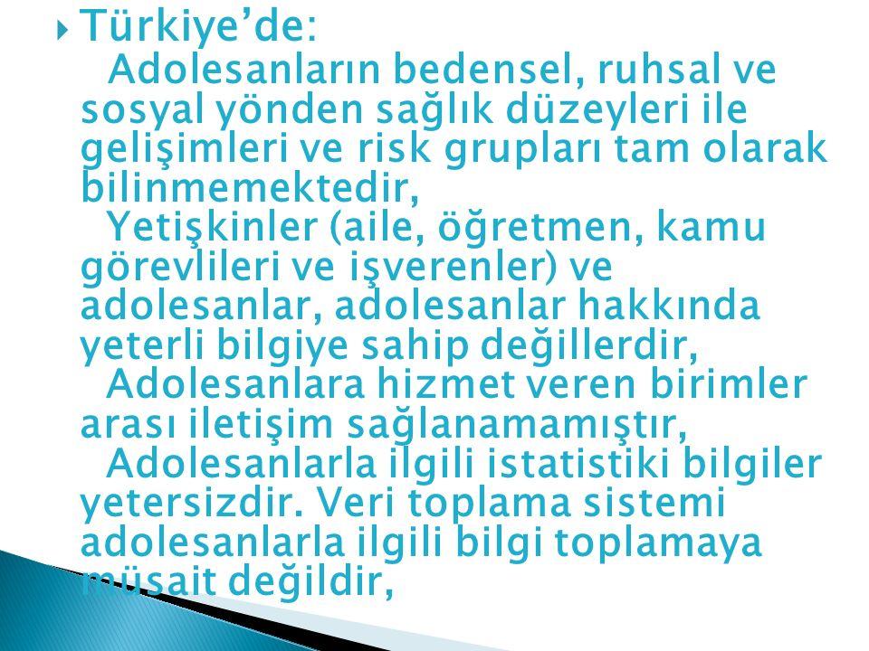 Türkiye'de: Adolesanların bedensel, ruhsal ve sosyal yönden sağlık düzeyleri ile gelişimleri ve risk grupları tam olarak bilinmemektedir, Yetişkinler (aile, öğretmen, kamu görevlileri ve işverenler) ve adolesanlar, adolesanlar hakkında yeterli bilgiye sahip değillerdir, Adolesanlara hizmet veren birimler arası iletişim sağlanamamıştır, Adolesanlarla ilgili istatistiki bilgiler yetersizdir.