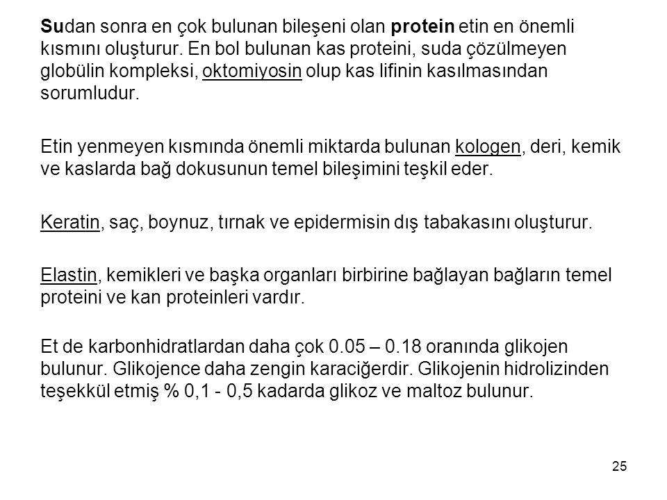 Sudan sonra en çok bulunan bileşeni olan protein etin en önemli kısmını oluşturur.