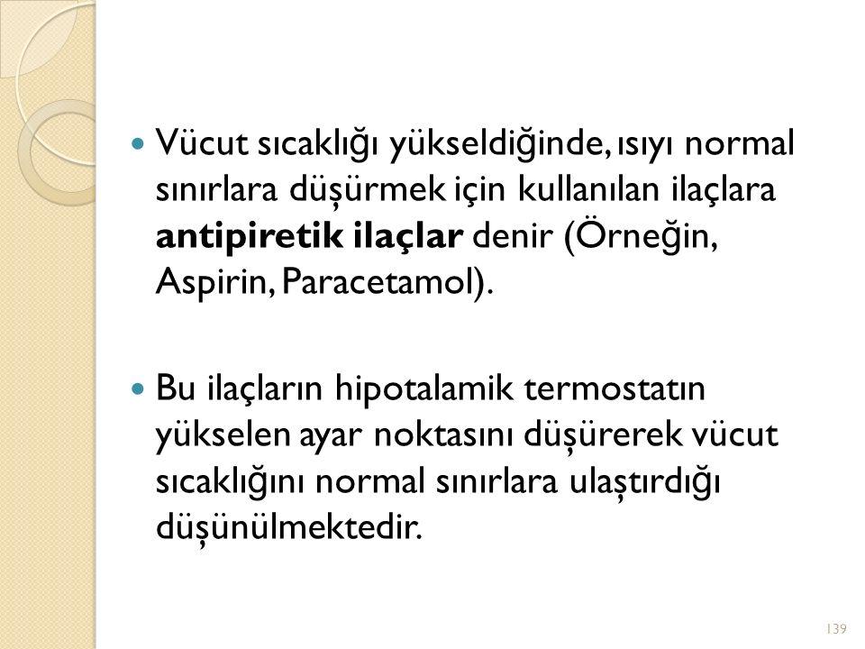 Vücut sıcaklığı yükseldiğinde, ısıyı normal sınırlara düşürmek için kullanılan ilaçlara antipiretik ilaçlar denir (Örneğin, Aspirin, Paracetamol).