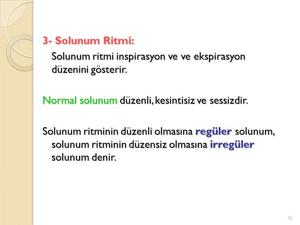 3- Solunum Ritmi: Solunum ritmi inspirasyon ve ve ekspirasyon düzenini gösterir.