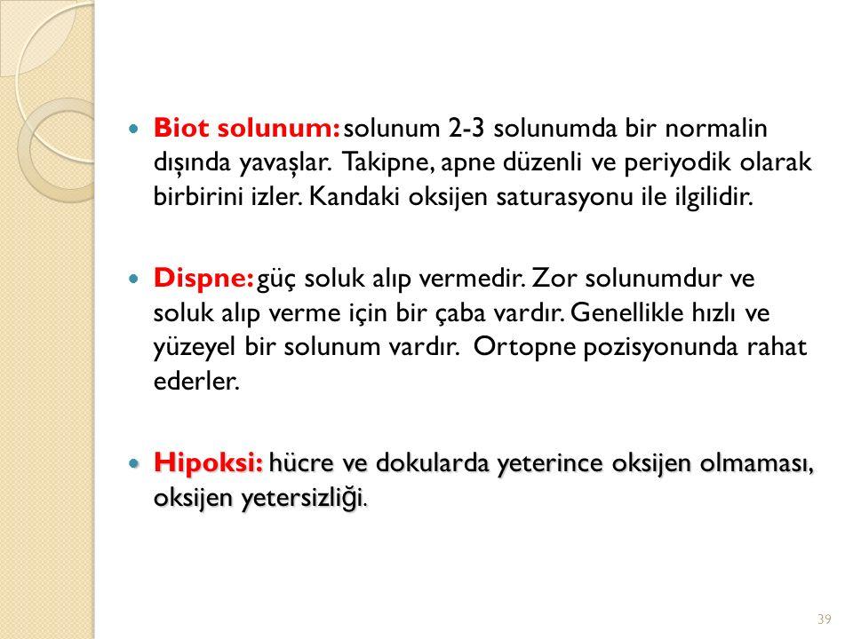 Biot solunum: solunum 2-3 solunumda bir normalin dışında yavaşlar
