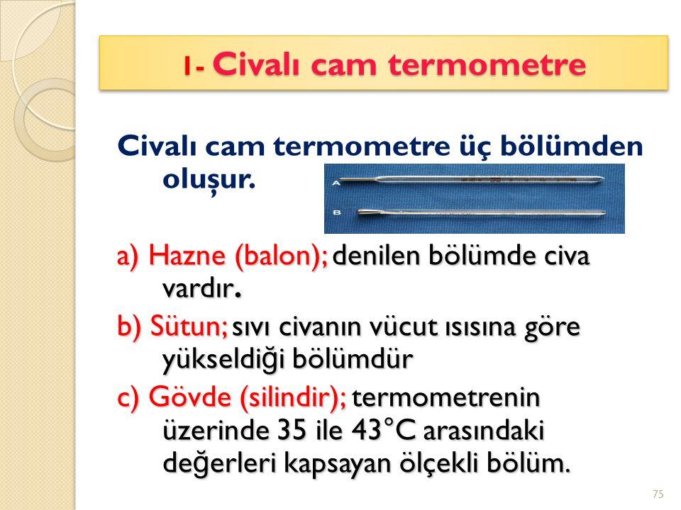 1- Civalı cam termometre