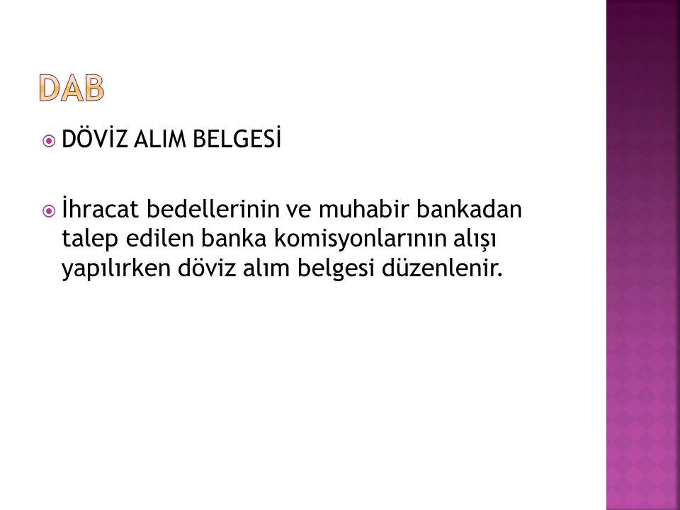 DAB DÖVİZ ALIM BELGESİ.