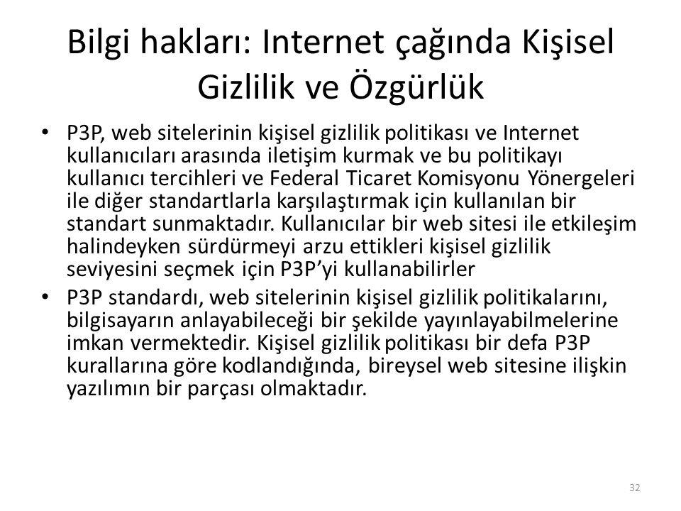 Bilgi hakları: Internet çağında Kişisel Gizlilik ve Özgürlük