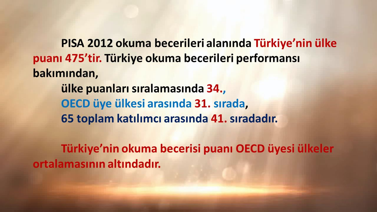 PISA 2012 okuma becerileri alanında Türkiye'nin ülke puanı 475'tir