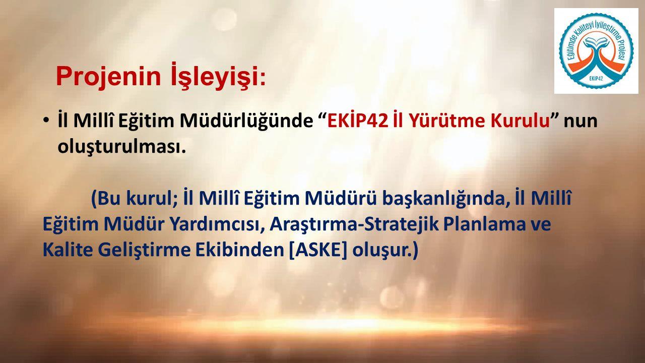 Projenin İşleyişi: İl Millî Eğitim Müdürlüğünde EKİP42 İl Yürütme Kurulu nun oluşturulması.