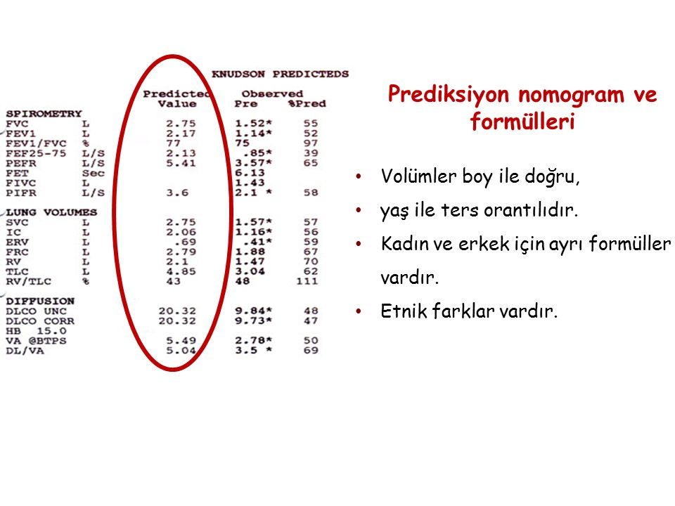 Prediksiyon nomogram ve formülleri